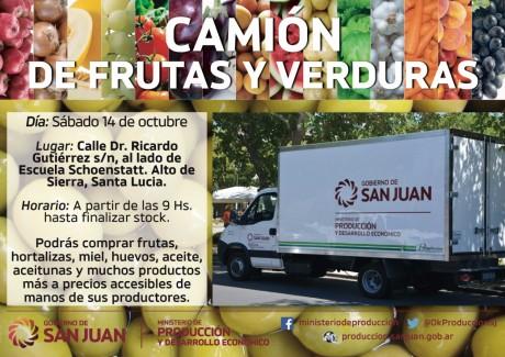 """El camión de """"Frutas y Verduras"""" estará en Alto de Sierra"""