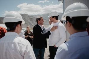 Uñac recorrió las obras del dique El Tambolar